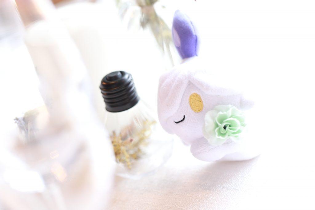 ポケモンのぬいぐるみに花を持たせています。