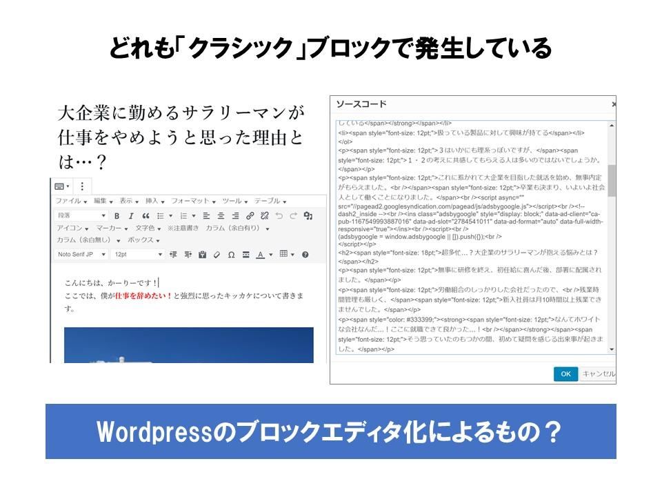 どれも「クラシック」ブロックで発生。Wordpressのブロックエディタ化によるもの?